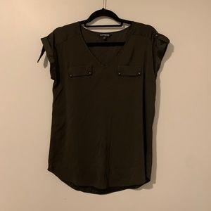 Express Army Green Silk Blouse
